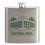 Grand Teton Green Sign Flask