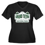 Grand Teton Green Sign Women's Plus Size V-Neck Da