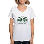 Grand Teton Green Sign Women's V-Neck T-Shirt