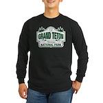 Grand Teton Green Sign Long Sleeve Dark T-Shirt