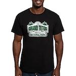 Grand Teton Green Sign Men's Fitted T-Shirt (dark)