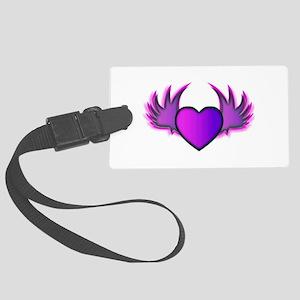 Purple Winged Heart Large Luggage Tag