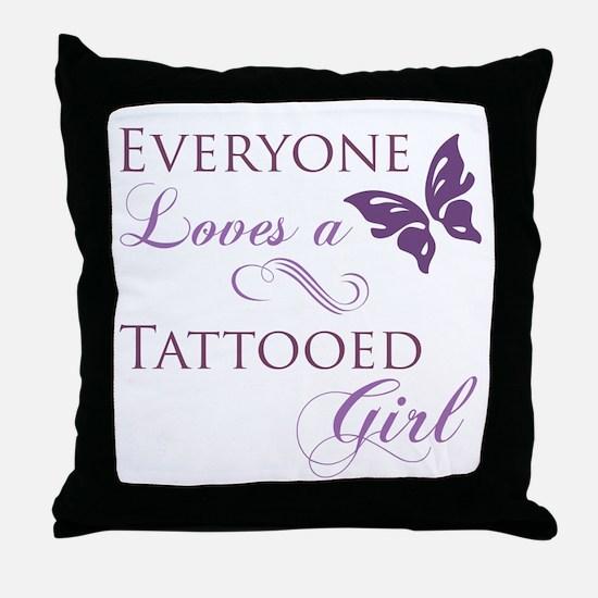 Tattooed Girl Throw Pillow