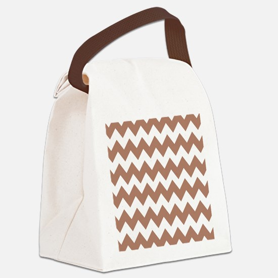 Mocha Rose Chevron Canvas Lunch Bag