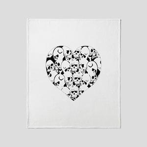 Skulls Heart Black Throw Blanket