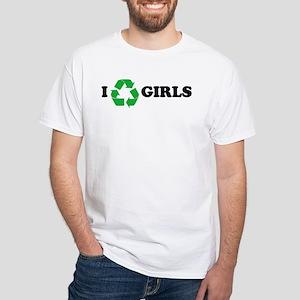 I Recycle Girls White T-Shirt