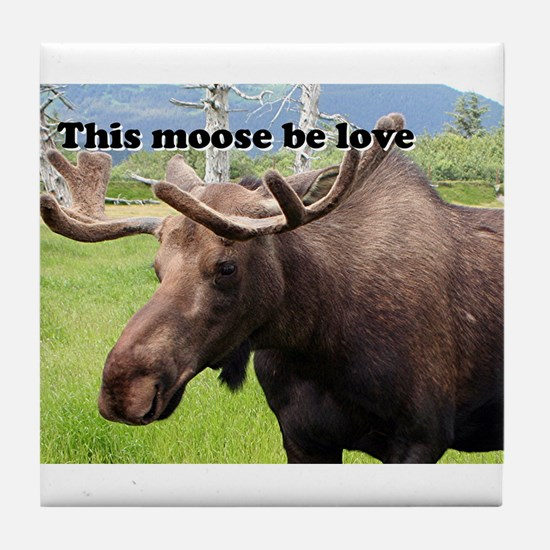 This moose be love: Alaskan moose Tile Coaster