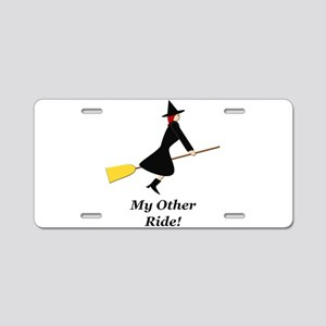 My Other Ride Broom Aluminum License Plate