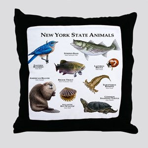 New York State Animals Throw Pillow