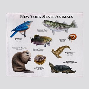 New York State Animals Throw Blanket