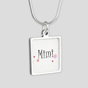 Mimi Retro Silver Square Necklace