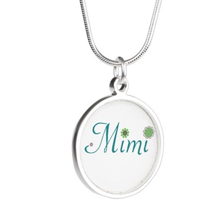 Mimi Green Flowers Silver Round Necklace