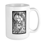 Mixed Emotions Black and White Drawing Large Mug