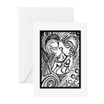 Mixed Emotions Black and White Drawing Greeting Ca