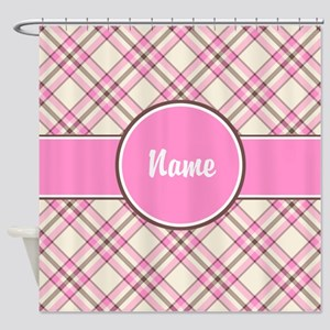 Pink Check Personalized Shower Curtain