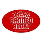 """""""I Read Banned Books"""" Oval Sticker"""