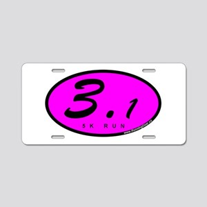 Oval Pink 3.1 Aluminum License Plate