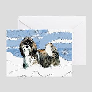 Shih Tzu Christmas Holiday Angi Greeting Cards (Pa