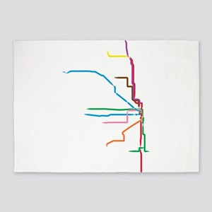 Painted Chicago El Map 5'x7'Area Rug