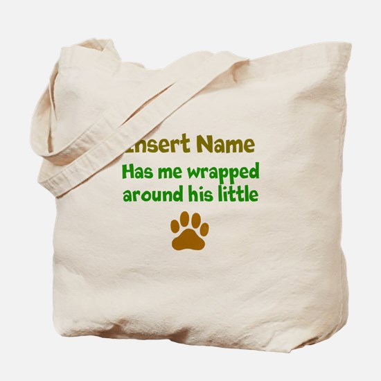 My dog wrapped around finger Tote Bag