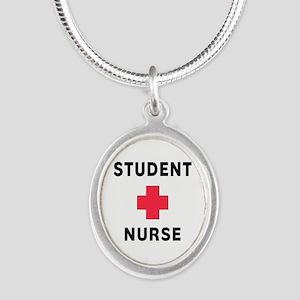 Student Nurse Silver Oval Necklace