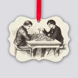 Boys Playing Chess Picture Ornament