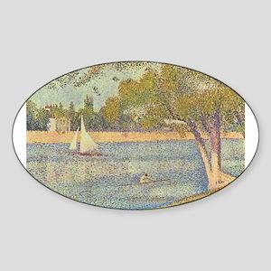 Seurat Grande Jatte Sticker (Oval)
