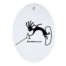 Kokopelli Wakeboarder Oval Ornament