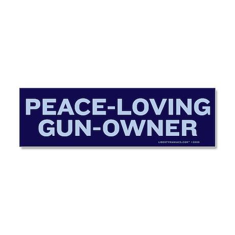 Peace Loving Gun Owner Car Magnet 10 x 3