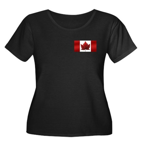 Canada Flag Women's Plus Size Scoop Neck Dark T-Sh