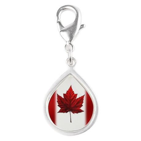 Canada Flag Silver Teardrop Charm