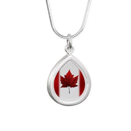 Canada Flag Silver Teardrop Necklace