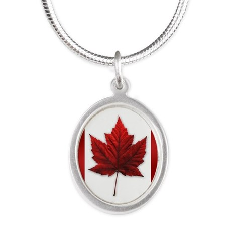 Canada Flag Silver Oval Necklace