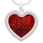 Canada Flag Silver Heart Necklace
