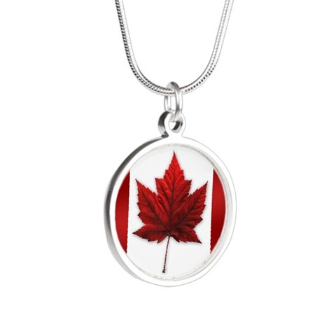 Canada Flag Silver Round Necklace
