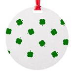 Lucky Four Leaf Clover Pattern Round Ornament