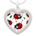 Cute Ladybug Pattern Silver Heart Necklace