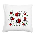 Cute Ladybug Pattern Square Canvas Pillow