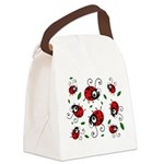 Cute Ladybug Pattern Canvas Lunch Bag