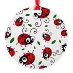 Cute Ladybug Pattern Round Ornament