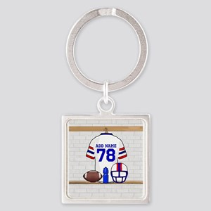 Customizable white red and blue football grid iro