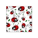 Cute ladybug pattern Square Sticker 3