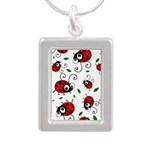 Cute ladybug pattern Silver Portrait Necklace