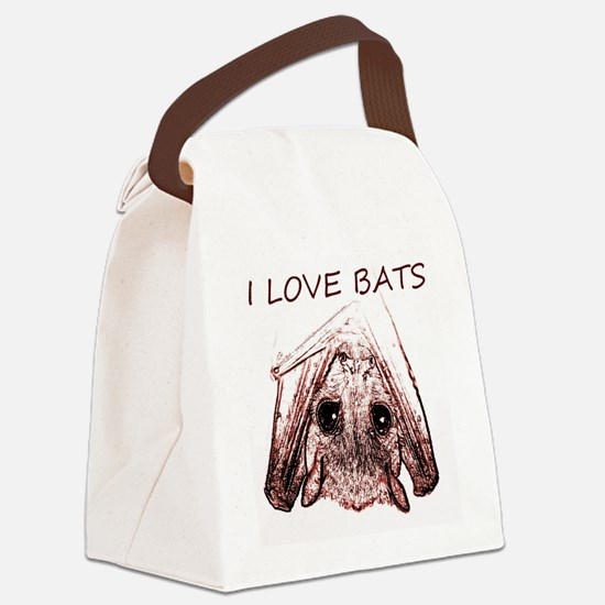 I LOVE BATS Canvas Lunch Bag