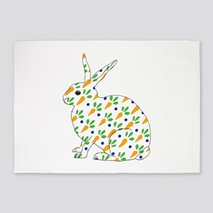 Carrot Calico Rabbit 5'x7'Area Rug