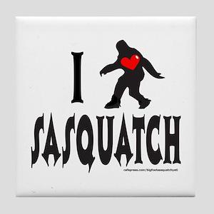 I HEART/LOVE SASQUATCH Tile Coaster