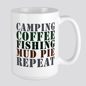 Camp Coffee Fishing Large Mug