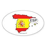 Spain-mini National Flag Outline Oval Sticker