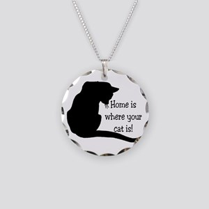 Home Cat Necklace Circle Charm