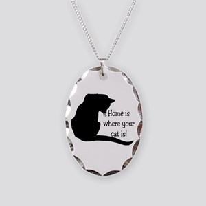 Home Cat Necklace Oval Charm
